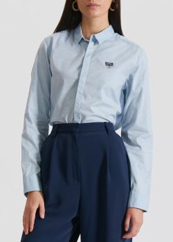 Голубая рубашка Kenzo с фирменной вышивкой, фото