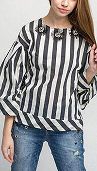 Объемная блуза Kaos в полоску с широкими рукавами, фото
