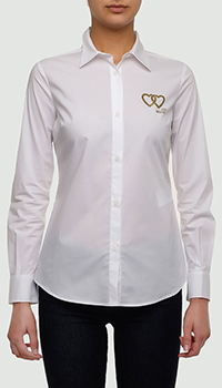 Белая рубашка Love Moschino с золотистым логотипом, фото