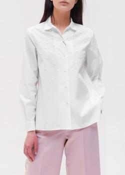 Белая рубашка Max Mara Weekend с цветочной аппликацией, фото