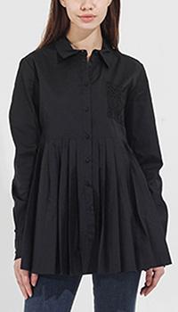 Черная рубашка Twin-Set с плиссированным низом, фото