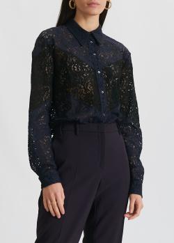 Кружевная блузка N21 темно-синего цвета, фото
