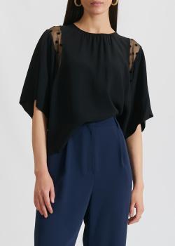 Блузка свободного кроя N21 с прозрачными вставками, фото