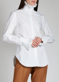 Белая рубашка Paco Rabanne с высоким воротником, фото