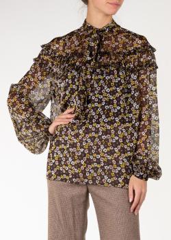 Черная шелковая блуза Rochas с цветочным принтом, фото