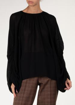Черная блуза Rochas с объемными рукавами, фото