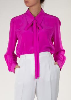 Блуза цвета фуксия Rochas с бантом на шее, фото