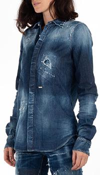 Синяя джинсовая рубашка Dsquared2 с потертостями, фото