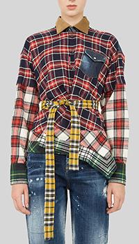 Клетчатая рубашка Dsquared2 с принтом-пэчворк, фото