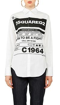 Белая рубашка Dsquared2 с принтом, фото