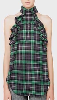 Блузка Dsquared2 зеленая с декором-рюшами, фото