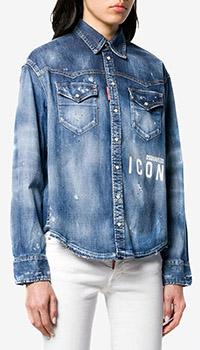 Джинсовая рубашка Dsquared2 Icon с брендовым принтом, фото