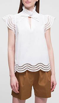 Белая блузка P.A.R.O.S.H. с коротким рукавом, фото