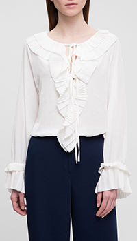 Белая блузка P.A.R.O.S.H. с воланами, фото