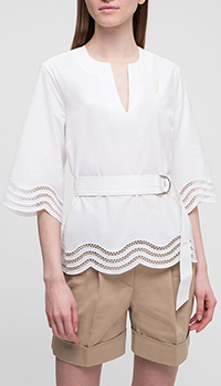 Белая блузка P.A.R.O.S.H. с пышными рукавами, фото