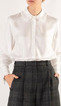 Белая блуза Sandro со складками на воротнике и манжетах, фото