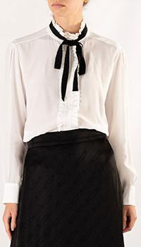 Шелковая блуза Sandro с черной лентой, фото
