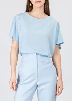 Шелковая блуза с коротким рукавом Peserico голубого цвета, фото
