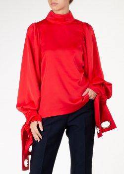 Красная блузка Self-Portrait с декором на рукавах, фото
