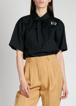 Черная блузка Rochas с бантом на шее, фото