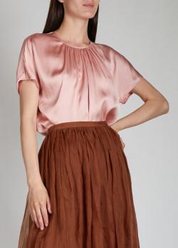 Шелковый топ Rochas розового цвета, фото