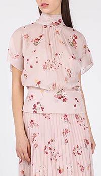 Блуза Red Valentino розовая с цветочным принтом, фото