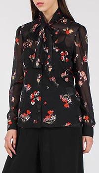 Шелковая блуза Red Valentino черная с цветочным принтом, фото