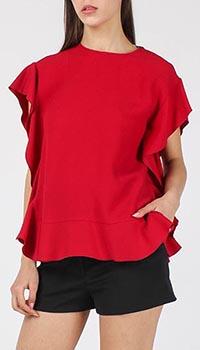 Блуза Red Valentino красного цвета с рукавами-воланами, фото