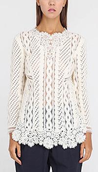 Ажурная блуза Ermanno Scervino белого цвета с длинным рукавом, фото