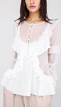 Полупрозрачная белая блуза Blumarine с воланами и кружевом, фото