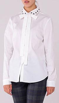 Белая рубашка Red Valentino со стразами на воротнике, фото
