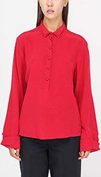 Шелковая блузка-рубашка Emporio Armani красного цвета с двойным воротником, фото