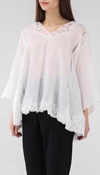 Полупрозрачная белая блуза Ermanno Scervino свободного кроя с кружевной отделкой, фото