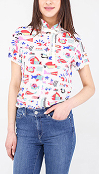 Шелковая рубашка Emporio Armani с разноцветным принтом, фото