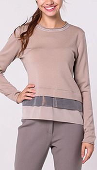 Бежевая блузка Peserico с длинными рукавами, фото