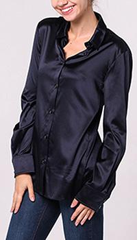Темно-синяя рубашка Emporio Armani прямого кроя, фото