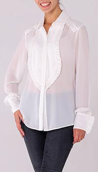 Белая полупрозрачная блуза Elisabetta Franchi с оборками, фото
