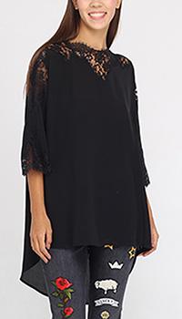 Шелковая блуза оверсайз Ermanno Ermanno Scervino с кружевным верхом, фото