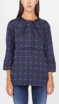 Блуза Armani Jeans синего цвета с укороченным рукавом и геометричным орнаментом, фото