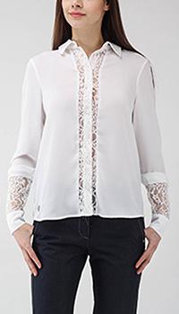 Полупрозрачная блуза Philipp Plein с кружевными вставками белого цвета, фото
