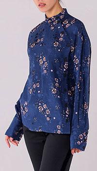 Блуза с воротником-стойкой Kenzo синего цвета с цветочным принтом, фото