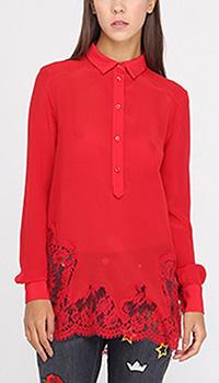 Шелковая блуза Ermanno Ermanno Scervino красного цвета с кружевным низом, фото
