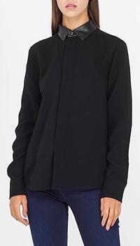 Блуза Polo Ralph Lauren с длинным рукавом и кожаным воротником, фото