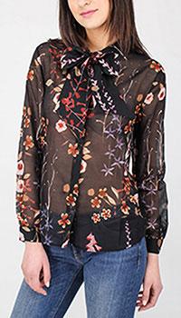 Полупрозрачная блузка Emporio Armani с бантом, фото