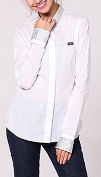 Рубашка Philipp Plein белого цвета с декором-стразами, фото