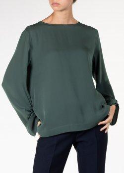 Шелковая блузка Fabiana Filippi зеленого цвета, фото