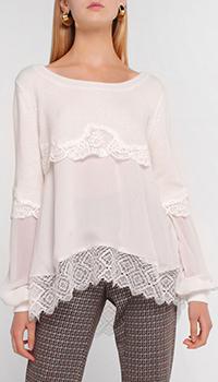 Блузка Twin-Set с кружевом белого цвета, фото