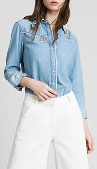 Джинсовая рубашка Twin-Set с вышивкой-бабочками, фото