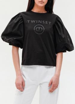 Черная блузка Twin-Set с пышными рукавами, фото