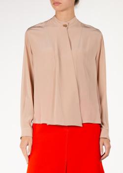 Бежевая шелковая блуза Agnona прямого кроя, фото